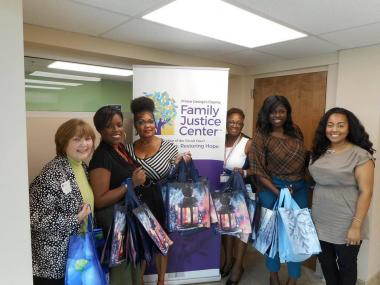 The Harmony Hall Chapter, MD, donated toiletry kits in reusable shopping bags to the Family Justice Center. The center provides services to survivors of domestic violence, sexual assault, human trafficking and elder abuse.