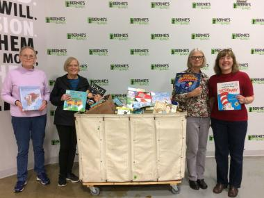 The Skokie Valley Chapter, IL, donated 610 books to Bernie's Book Bank and volunteered with them to package books into bins and get them ready to be delivered to Pre-K through first grade children at risk.