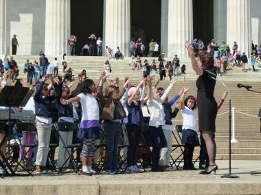 "April 9, 2014 - The third grade student choir from DC's Ross Elementary School performs ""He's Got the Whole World"" during the National Parks Service commemorative program."