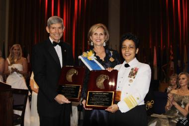 National Defense Night distinguished speakers, General Norton A. Schwartz, USAF (Ret.), former Chief of Staff of the Air Force, and Admiral Michelle J. Howard (who, three days after the DAR ceremony, became the first female four-star admiral in the Navy's 236-year history), were honored with DAR Patriot Awards.