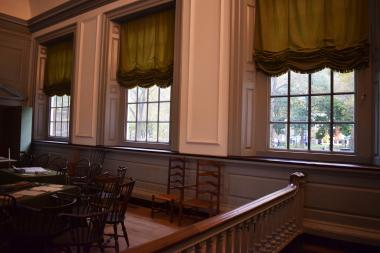 From inside the Assembly Room in Independence Hall you can see the new DAR trees (yellow leaves and orange leaves) that were just planted and will mature as the nation celebrates 250 years since the incredible events, including the significant deliberations in this very room, which launched our nation's independence!