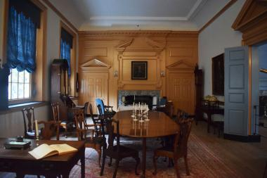 The Governor's Council Chamber on the second floor of Independence Hall was furnished with authentic 18th century pieces by DAR as a gift during the Bicentennial.