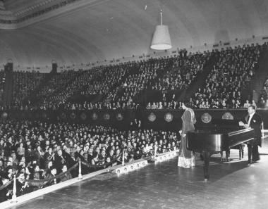Following the historic Lincoln Memorial concert, Marian Anderson performed on numerous occasions at Constitution Hall. She is pictured here in 1943 during a benefit concert for war relief. She also performed here in 1953, 1956 and 1964.