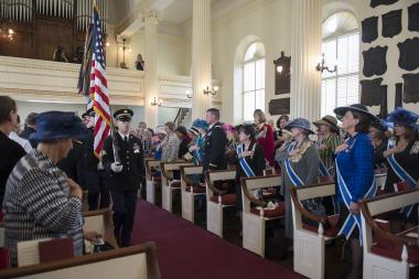 The Honor Guard processes in the colors at the beginning of the Margaret Corbin Rededication Ceremony at the Old Cadet Chapel in the West Point Cemetery.