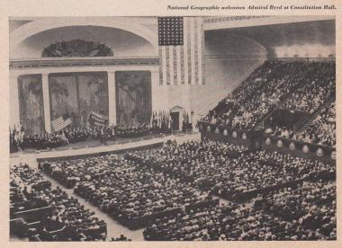 The early appearance of the stage is seen in this photo from a National Geographic event in Constitution Hall. Phase Two of the Constitution Hall restoration focused on the stage and the iconic visual aspects that have been the backdrop to DAR Continental Congress as well as hundreds of thousands of concert-goers annually for close to 90 years.