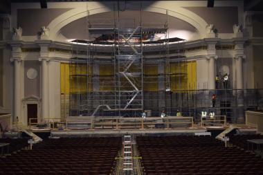 After the work was completed and the scaffolding started to come down you could get a glimpse of the fresh coat of paint on the columns, eagles and around the stage.