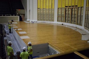 The Constitution Hall floor was also sanded, repaired and given a darker stain.