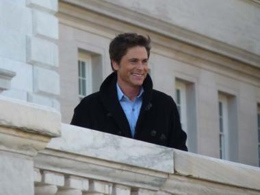 Camera men filming Rob Lowe's arrival to DAR Headquarters.