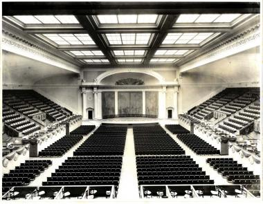 This restoration project worked to restore the look of the Constitution Hall stage back to being as similar as possible to its original appearance, which is shown in this 1930s era photograph.