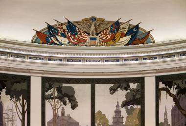 You can see how much more bright and clear the flag mural and the 13 state names are after being cleaned and restored.