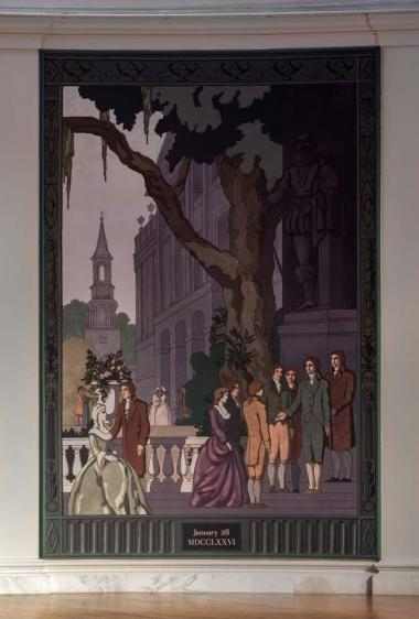 A detail of one of the screens over the acoustic panels. This painting depicts a scene in Charleston, South Carolina.