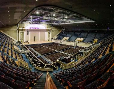 """Here is a """"before"""" photo of the Constitution Hall stage right before the restoration work began…"""