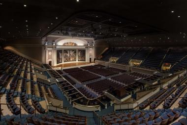 """… and here is the """"after"""" photo of the beautifully restored stage of Constitution Hall."""