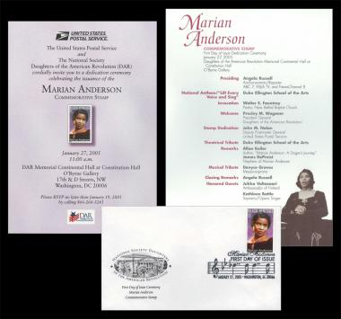 January 27, 2005 – DAR National Headquarters hosted the Mariam Anderson Commemorative Stamp Ceremony.  Here you can see the invitation, program and first day of issue stamp for this wonderful event