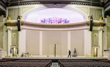 """Here is a look at the """"Before"""" of the Constitution Hall Stage right before the restoration process began in 2017."""
