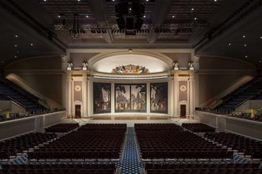 The completed restoration of the historic DAR Constitution Hall stage.
