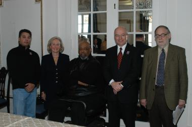 January 27, 2005 – Marian Anderson stamp artist Albert Slark, Honorary President General Presley Wagoner, Marian Anderson's nephew James DePreist, Post Master General John Nolan and Musicologist and Marian Anderson biographer Alan Keiler joined together before the stamp ceremony.
