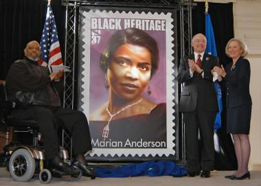 January 27, 2005 – James DePreist, John Nolan and Presley Wagoner admire the new Marian Anderson Stamp, the 28th in the U.S. Postal Service's Black Heritage series.