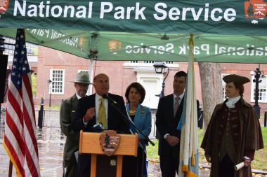 Philadelphia City Councilmember Mark Squilla thanked the DAR on behalf of the City of Philadelphia and spoke about how this gift will help the park thrive in the future.