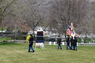 The Honor Guard leads the attendees out to the Margaret Corbin Monument for the wreath laying.