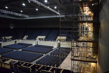The scaffolding was constructed in three days and covered the entire expanse of the stage and 40 feet high to the ceiling.