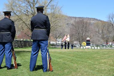 The U.S. Military Academy Honor Guard prior to presenting honors at the conclusion of the ceremony.