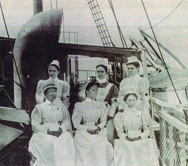 Nurse volunteers aboard the U.S. Hospital Ship Relief, circa 1898.