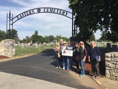 Ann Rogers Clark Chapter, IN volunteered in the Eastern Cemetery by cleaning monuments, taking photographs of headstones, creating memorials, and uploading GPS coordinates to the Find A Grave website.