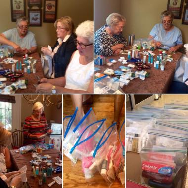 The Captain Peter Ankeny Chapter, OK celebrated the DAR Day of Service by making bags of personal care products for homeless and in need Veterans