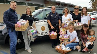 De Anza Chapter, CA donated over 100 stuffed animals to their local police department to give to children in crisis.