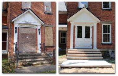 A DAR historic preservation grant was used by the Oshtemo Historical Society, in Kalamazoo, MI to restore the front entryway of the Benjamin Drake House to the 1880 to 1900 Victorian era. The front stoop and stairs were removed and replaced with concrete and decorative bricks. The lovely walnut inside doors were stripped and refinished. The security door was built to replicate the original doors and to protect the beautiful sandblasted glass.