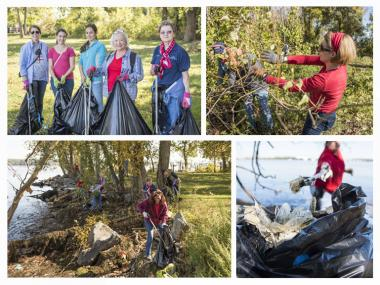 Several Northern Virginia chapters joined together for the National DAR Day of Service at the National Park Service Dyke Marsh along the Potomac River to pick up trash and remove invasive plant species.