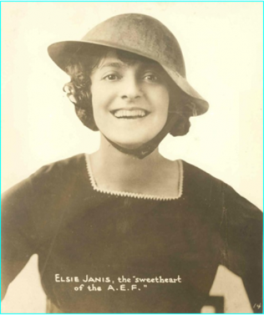 "Elise Janis was a singer, songwriter, actress and screenwriter, becoming a successful Broadway performer in several shows including The Vanderbilt Cup, The Hoyden and The Century Girl. Janis never stopped advocating for the soldiers fighting in World War I, while actively raising funds for Liberty Bonds, and went to the front lines to entertain troops during the war. Her actions earned her the title ""the sweetheart of the AEF (American Expeditionary Force)."" (link full bio here)"