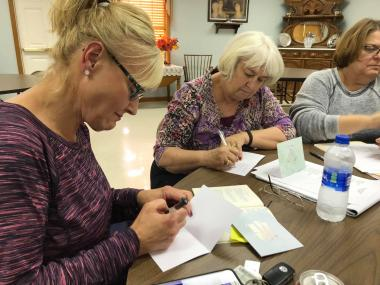 The Francis Vigo Chapter wrote notes of encouragement to clients seeking the aid of Hope's Voice of Knox and Daviess County. Hopes Voice is a domestic abuse support network, and October is Domestic Abuse Awareness month.