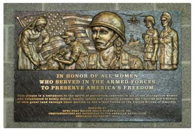 The GFWC Fort Walton Beach Women's Club and the Choctawhatchee Bay DAR Chapter sponsored a grant to place a bronze memorial plaque at the Northwest Florida Regional Airport to recognize and honor women's service in the military.