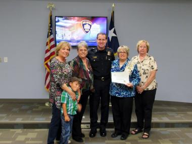 Green Mountain Boys Chapter, TX presented boxes of activities for children to the San Antonio Police Department FACT team (Family Assistance Crisis Team)