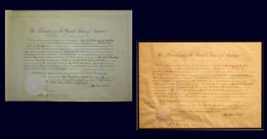 2012 Grant Recipient, Historical Preservation Category: Jefferson County Historical Society, Watertown, N.Y. Dated May 18, 1864, and bearing Abraham Lincoln's signature, this diplomatic commission promoting Augusts Hanabergh of New York to serve in the United States embassy in Colombia was cleaned and restored. Before (left) a large tear threatened the document; After (right).