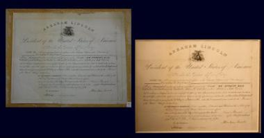 2012 Grant Recipient, Historical Preservation Category: Jefferson County Historical Society, Watertown, N.Y. A commission appointing Cornelius Inglehart as the Customs Collector of Sackets Harbor, N.Y., signed by President Abraham Lincoln on March 30, 1861 was cleaned and restored. Before (left) adhesive used to attach the commission to a wood pulp board was disintegrating the document; After (right).