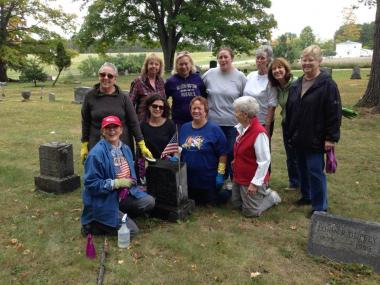 Job Winslow CHapter, MI volunteered to clean headstones in their local cemetery