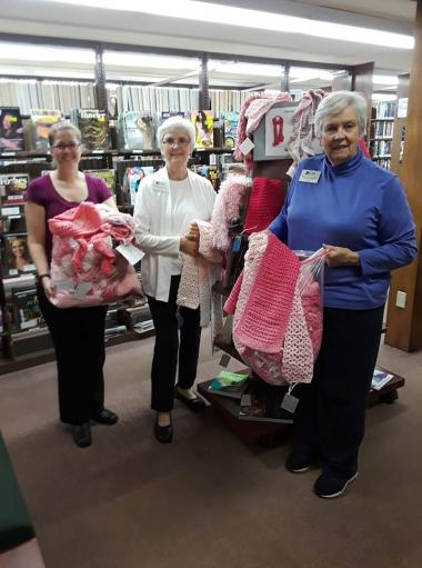 The Mercy Warren Chapter donated 70 hand made scarves to the Wilbraham Library for their collection for Rays of Hope walk.