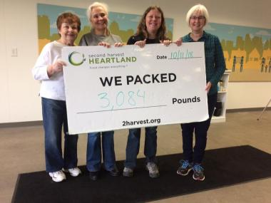 The Monument Chapter sorted food at Second Harvest Heartland foodbank. They sorted and packed 3,084 pounds of food that will be distributed to food shelves in Minnesota.