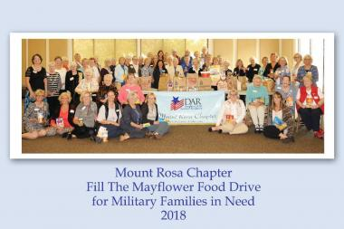 """The Mount Rosa Chapter collected non-perishable food for """"Fill the Mayflower Food Drive"""" which will be delivered to veterans and active duty military in need for Thanksgiving."""