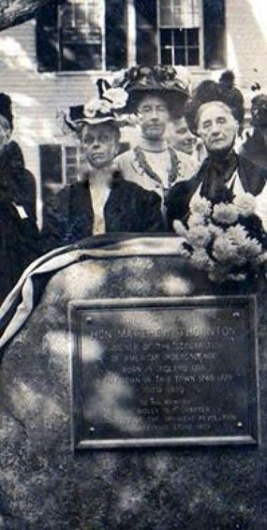 TBT from New Hampshire DAR.... On August 31, 1909, a boulder and bronze tablet to the memory of Matthew Thornton, signer of the Declaration of Independence, was unveiled on the lawn of his home in Derry, New Hampshire. Under the regency of Miss Sarah P. Webster, the boulder was placed on the lawn in front of the house in Derry Village, which is now privately owned. Matthew Thornton lived in the home from 1740 to 1778, and practiced medicine there. The boulder is from native New Hampshire granite and is abo