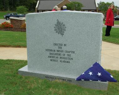 Grant Recipient, Patriotism Category: Needham Bryan Chapter NSDAR, Mobile, Ala. Members of the Needham Bryan Chapter, NSDAR, of Mobile, Ala., were enthusiastic about the need to honor the brave women who have defended the liberties held so dear. To that end, they set out to place a Womens Veteran Memorial in the new Veterans Cemetery, located in Baldwin County.