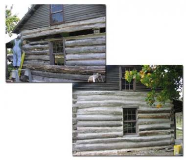 A DAR historic preservation grant helped the Olmstead County Historical Society in Rochester, MN restore portions of the William Dee Log Cabin. The cabin was built I 962, near downtown Rochester. When the William Dee Log Cabin was threatened by destruction it was moved to its current safer location in the History Center of Olmstead County.