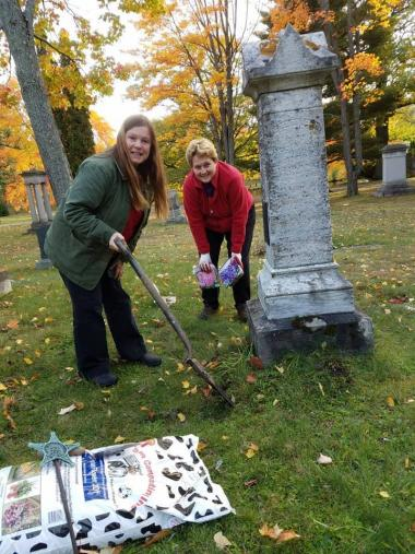 The Onagomingkway Chapter planted 24 hyacinth bulbs, pink/white/blue around the edge of Mrs. Eddy's grave (A Real Daughter) in Marquette's Park Cemetery.
