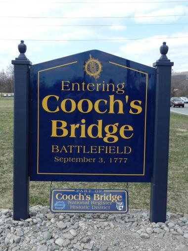 Grant Recipient, Historic Preservation Category: Entrance Signs for Revolutionary Battlefield, Newark, Del. The sign placed by Pencader Heritage Area Association marks the sole site of Revolutionary War conflict in Delaware. About 30 men were lost on each side in the August 1777 battle, and Gen. Cornwallis used the Cooch home as his headquarters for 10 days.
