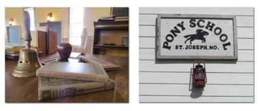 The Pony Express Museum built a 1860s schoolhouse in St. Joseph, MO, called the Pony School, to serve as an interactive exhibit which allows students to experience a pioneer school for a day.