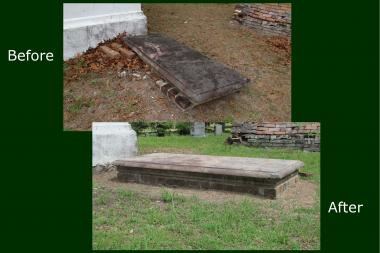 Grant Recipient, Historic Preservation Category: Rebecca Motte Chapter, NSDAR, Charleston, S.C. The Rebecca Motte Chapter, NSDAR, sought grant funding for the restoration and preservation of the historic Churchyard of the Parish Church of St. Thomas and St. Denis Parish located in Cainhoy, S.C. Gravesites within the cemetery include a number of patriot men and women of the Revolution, as well as pre-revolution Carolina colonists.