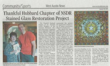 This article discussing the restoration of the stained glass windows and the relationship between the Thankful Hubbard Chapter of DAR and the Austin Women's Club was featured in a local Austin newspaper.